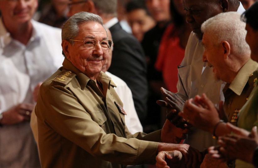 Cuba's President Raul Castro attends a ceremony marking Russia's Red October revolution's centenary. (photo credit: REUTERS/STRINGER)