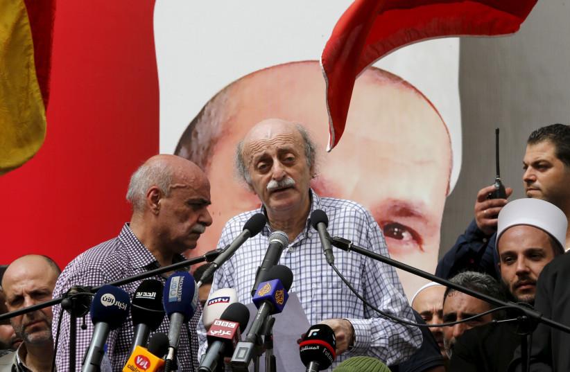 Lebanese Druse leader Walid Jumblatt addresses constitutuents (photo credit: MOHAMED AZAKIR / REUTERS)