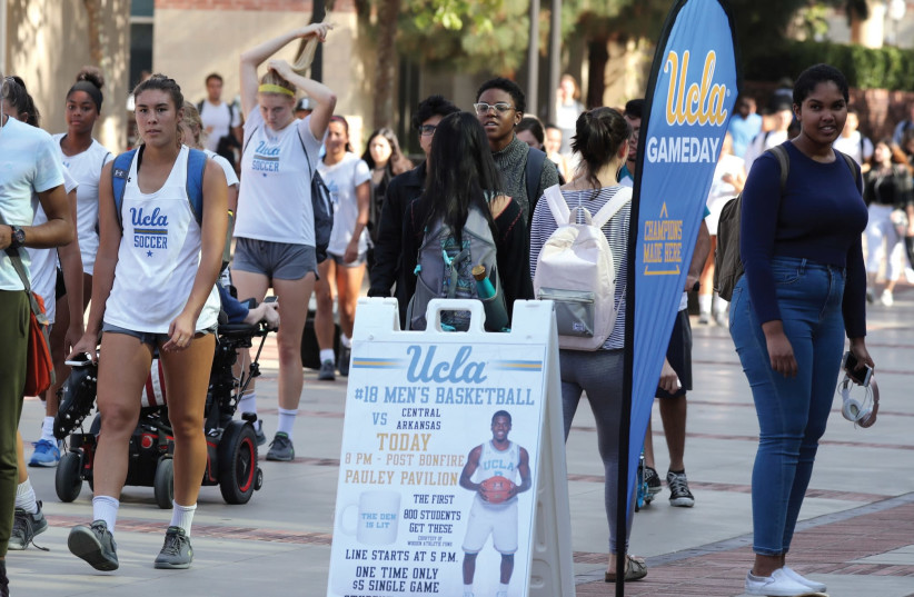 UCLA STUDENTS walk on campus (photo credit: REUTERS)