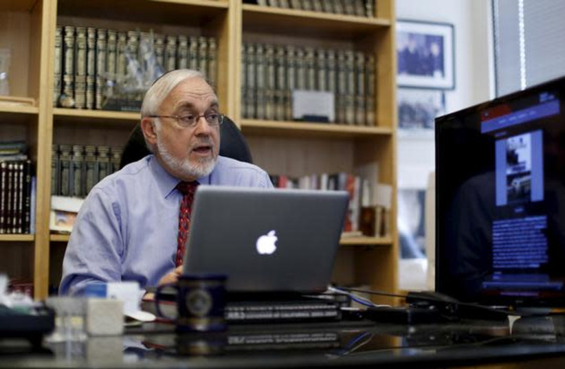 Associate Dean Rabbi Abraham Cooper is pictured in his office at the Simon Wiesenthal Center in Los Angeles, California December 10, 2015 (photo credit: MARIO ANZUONI/REUTERS)