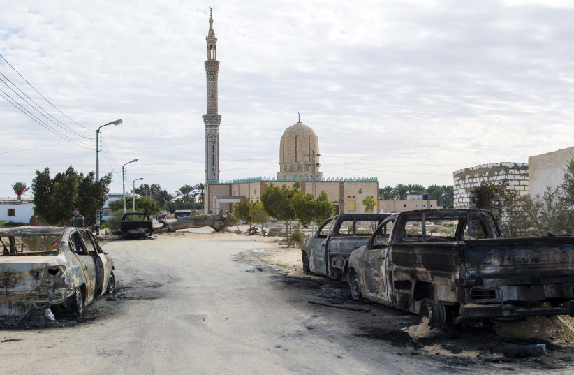 The Rawda mosque in Sinai after a gun and bombing attack which killed at least 305 worshippers (photo credit: STR / AFP)