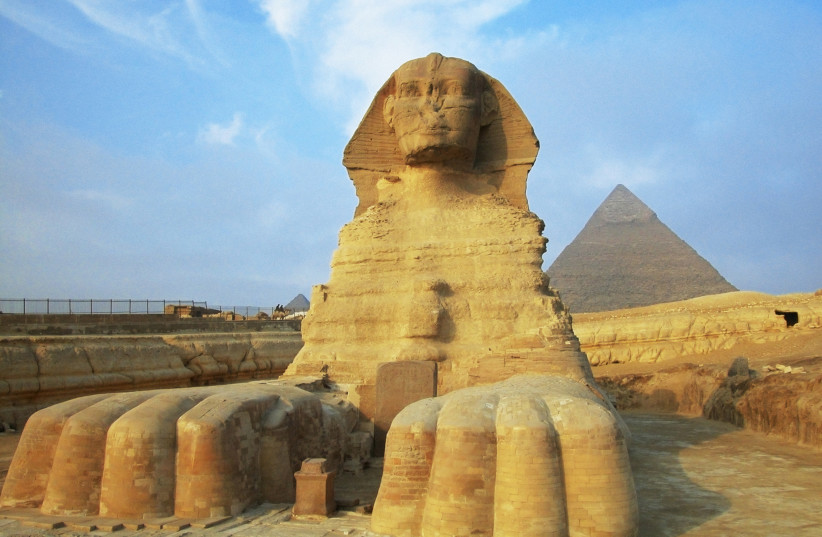 Sphinx in front of pyramids, Giza, Cairo, Egypt (photo credit: INGIMAGE)