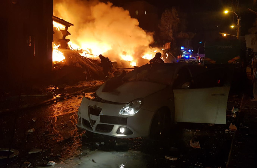 Scene of a large explosion and fire in Jaffa, November 27, 2017 (photo credit: MAGEN DAVID ADOM)