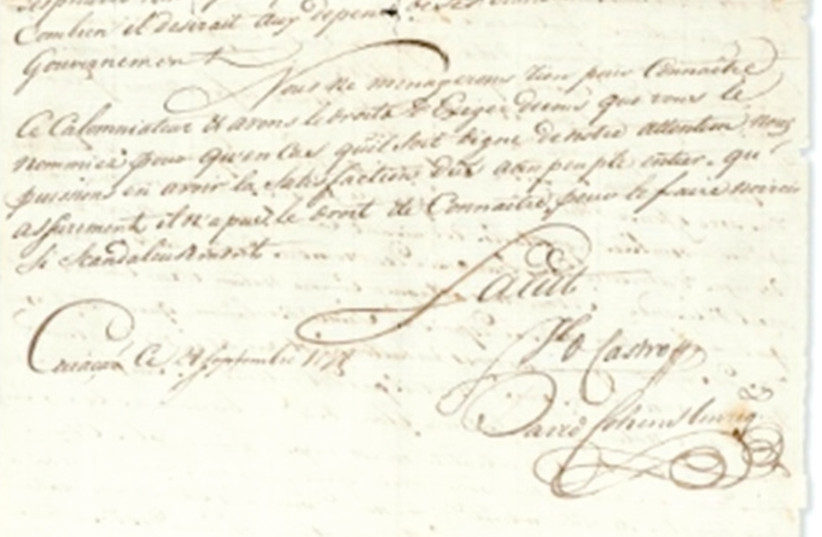 CARIBBEAN JUDAICA – This letter was written to Victor Hughes, special agent of the executive directory on Windward Islands, Curaçao, on September 8, 1798. (photo credit: CHRISTIE'S)