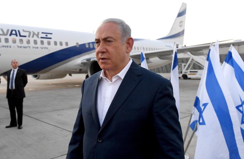 Prime Minister Benajmin Netanyahu boards flight to Kenya (photo credit: GPO)