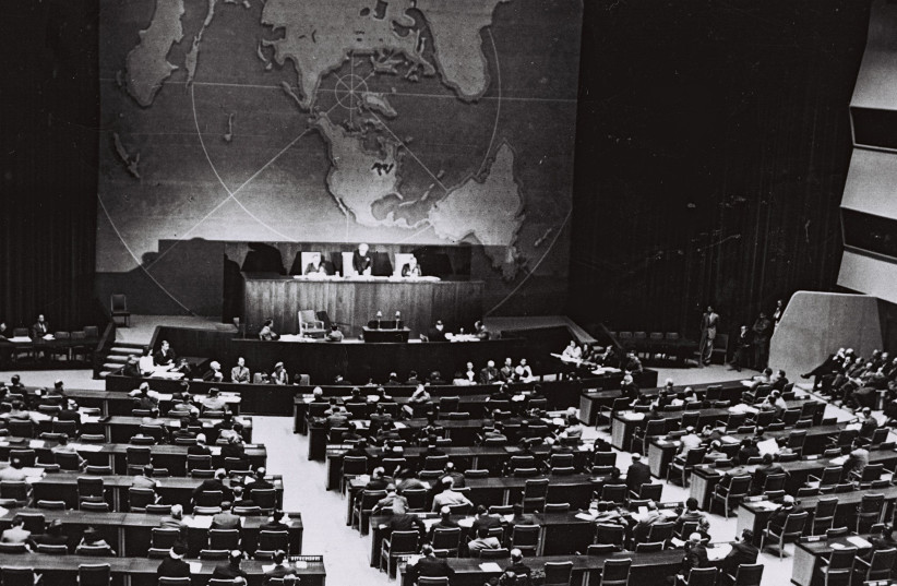 The UN vote, taking place in the main gallery of the Queens Museum (photo credit: GPO)