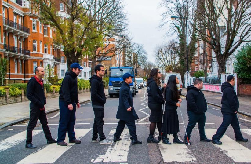 Israeli band of disabled musicians Shalva visits Abbey Road in London, November 2017 (photo credit: JOHN RIFKIN)