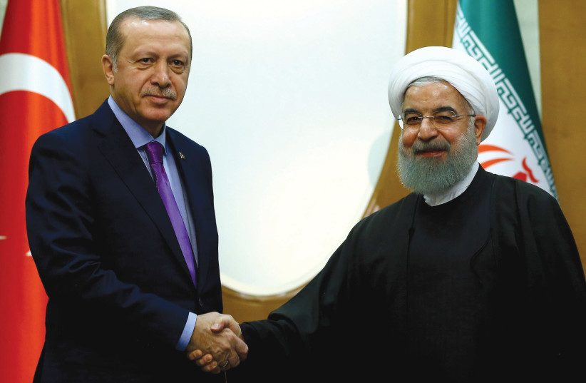 TURKEY'S PRESIDENT Recep Tayyip Erdogan meets with Iran's President Hassan Rouhani in Sochi. (photo credit: REUTERS)