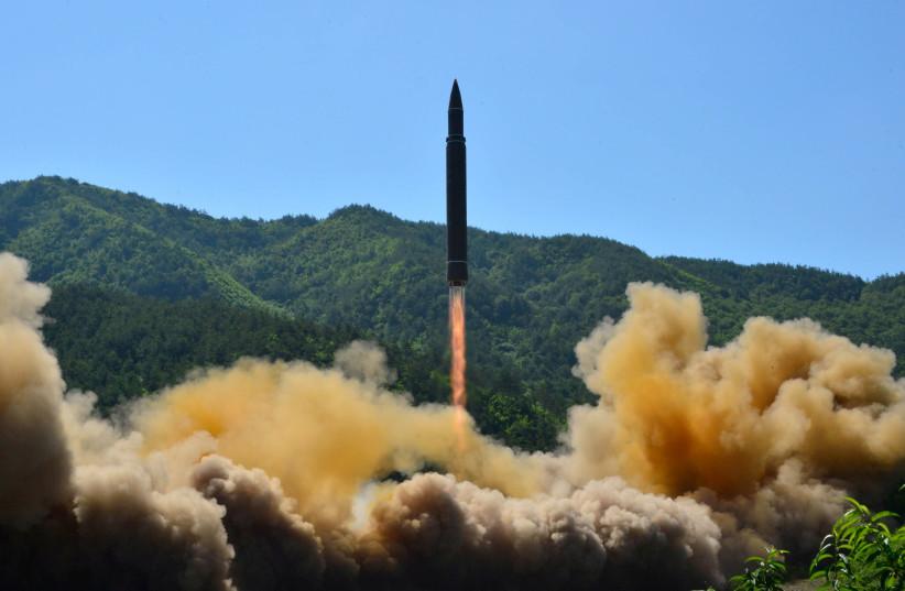 North Korea's Hwasong-14 intercontinental ballistic missile is launched, November 2017 (photo credit: KCNA/ REUTERS)