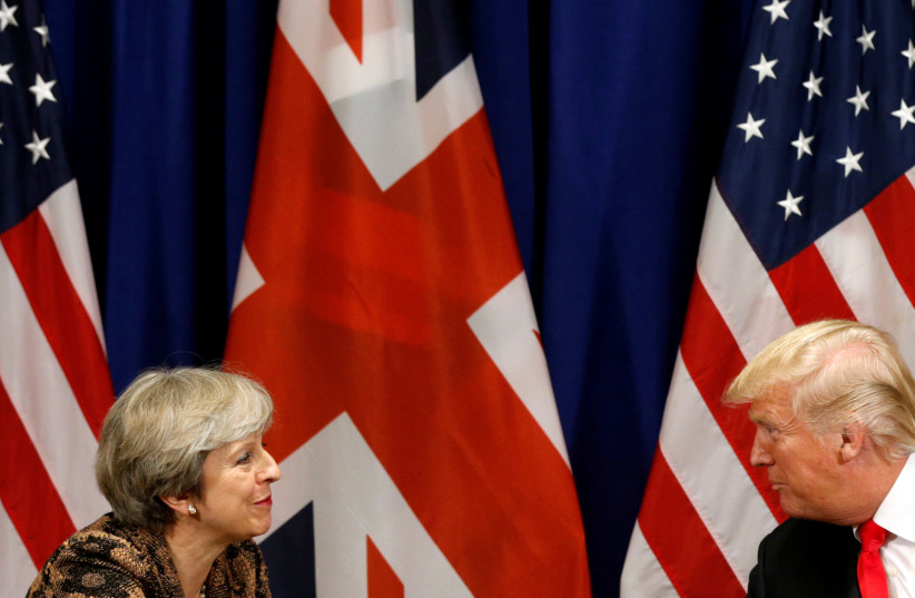 US President Donald Trump meets with British Prime Minister Theresa May during the UN General Assembly in New York, US. (photo credit: REUTERS)