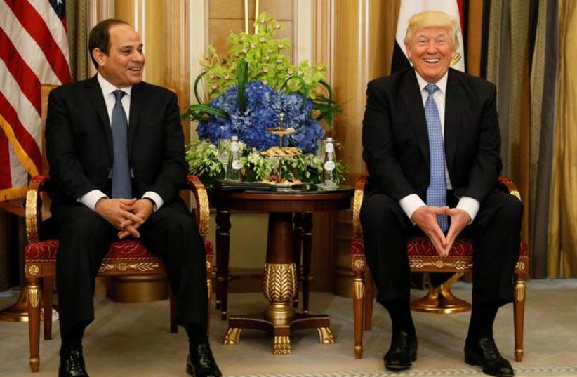 US President Donald Trump meets with Egypt's President Abdel Fattah al-Sisi in Riyadh, Saudi Arabia May 21, 2017. (photo credit: JONATHAN ERNST / REUTERS)