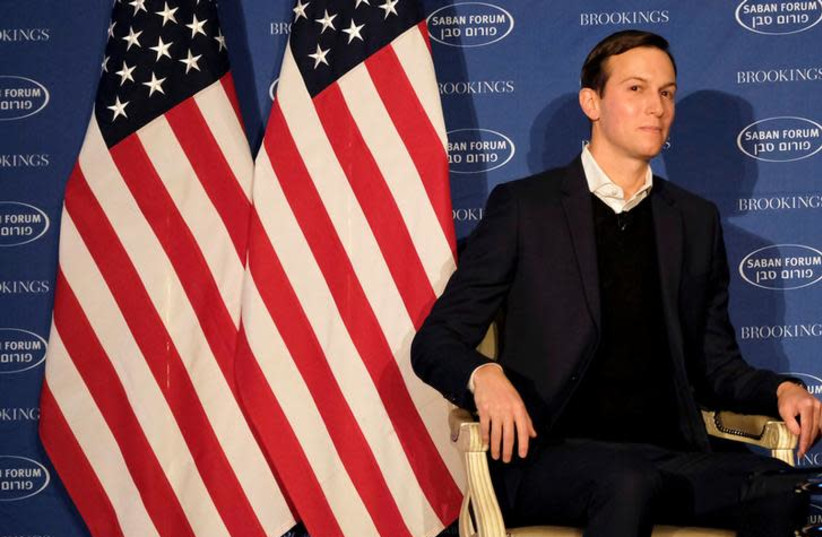 DATE IMPORTED: December 03, 2017 White House senior adviser Jared Kushner delivers remarks on the Trump administration's approach to the Middle East region at the Saban Forum in Washington, U.S., December 3, 2017. (photo credit: REUTERS/JAMES LAWLER DUGGAN)