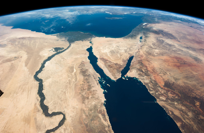 Satellite view of Israel and the Middle East (photo credit: COURTESY NASA/PUBLIC DOMAIN)