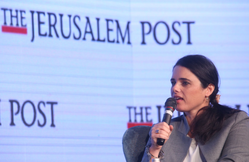 Justice Minister Ayelet Shaked speaks at the Jerusalem Post Diplomatic Conference (photo credit: MARC ISRAEL SELLEM)