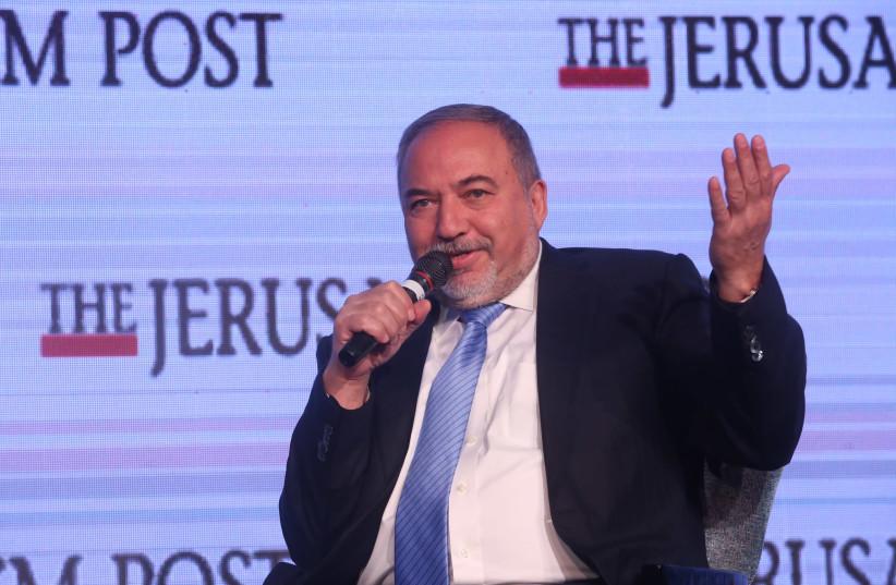 Defense Minister Avigdor Liberman speaks at the Jerusalem Post Diplomatic Conference (photo credit: MARC ISRAEL SELLEM)