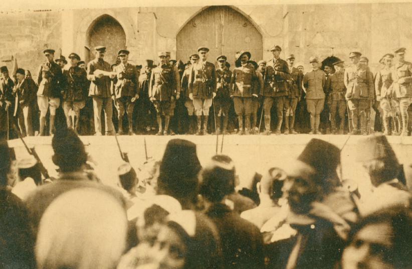 Original postcard showing Allenby's proclamation to inhabitants, with an offcial surrender ceremony held by the steps of the Tower of David, on December 11, 191 (photo credit: TOWER OF DAVID MUSEUM ARCHIVES)