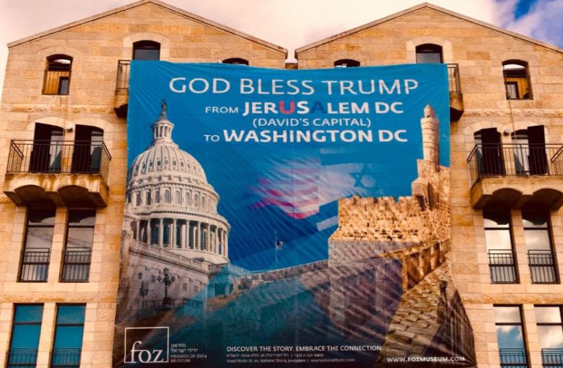 A banner celebrating Trump's announcement on Jerusalem posted across the city by Christian Zionist leader Mike Evans (photo credit: Courtesy)
