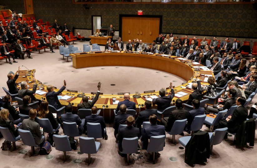 The United Nations Security Council votes, November 17, 2017 (photo credit: REUTERS)