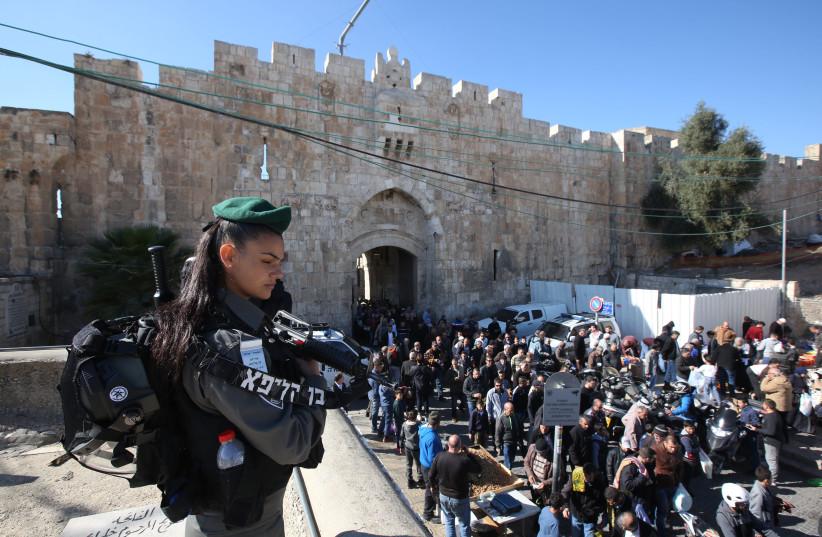 Israeli Security at the Old City of Jerusalem at the Lion's Gate   (photo credit: MARC ISRAEL SELLEM/THE JERUSALEM POST)