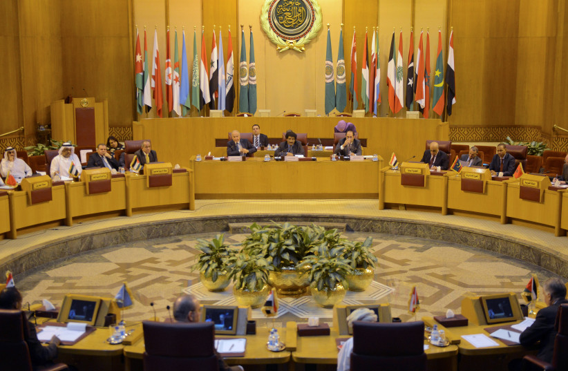 Arab foreign ministers convene in Cairo for a meeting of the Arab League to discuss Jerusalem, 9 December 2017 (photo credit: MOHAMED ABD EL GHANY/REUTERS)