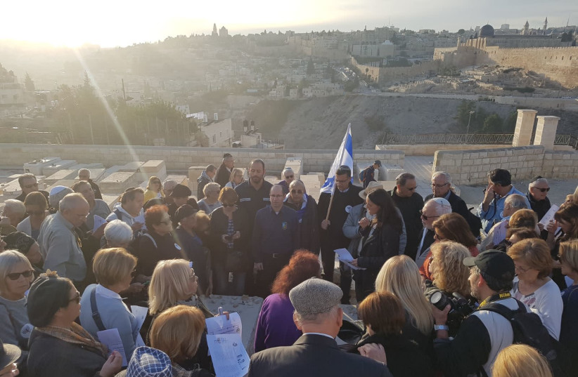 French immigrants visit Mount of Olives as part of tour organized by World Betar and the Israel is Forever association. (photo credit: WORLD BETAR)