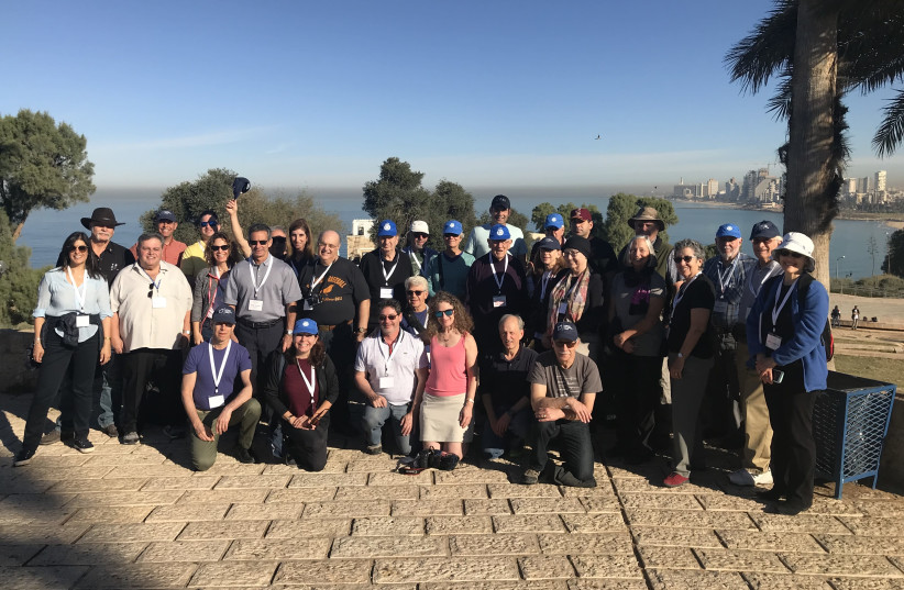 Members of the JNF water delegation gather in front of the Jaffa Port last week (photo credit: TALIA TZOUR AVNER)