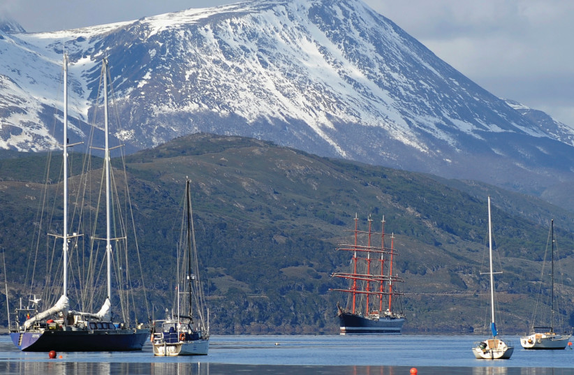 A FOUR-MASTED ship sails toward the port of the world's southernmost city of Ushuaia, at the very southernmost tip of Argentina (photo credit: FACUNDO SANTANA/REUTERS)