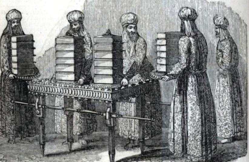 Showbread, in this illustration from an 1871 Bible (photo credit: Wikimedia Commons)