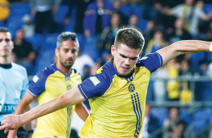 Maccabi Tel Aviv needs striker Vidar Orn Kjartansson to return to form tonight when it faces Hapoel Beersheba in the Toto Cup final. (photo credit: DANNY MARON)