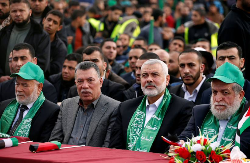 Hamas Chief Ismail Haniyeh attends a rally marking the 30th anniversary of Hamas' founding, in Gaza City December 14, 2017 (photo credit: MOHAMMED SALEM/REUTERS)