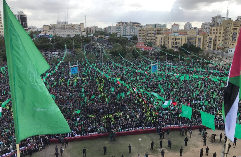 Crowd in Gaza City during celebrations for Hamas' 30th anniversary   (photo credit: Courtesy)