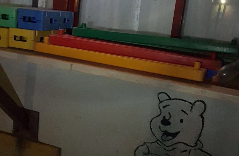 Window on the kindergarden after being hit  (photo credit: Courtesy)