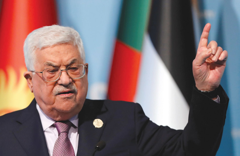 Palestinian Authority President Mahmoud Abbas speaks following a meeting of the Organization of Islamic Cooperation (OIC) in Istanbul (photo credit: REUTERS)