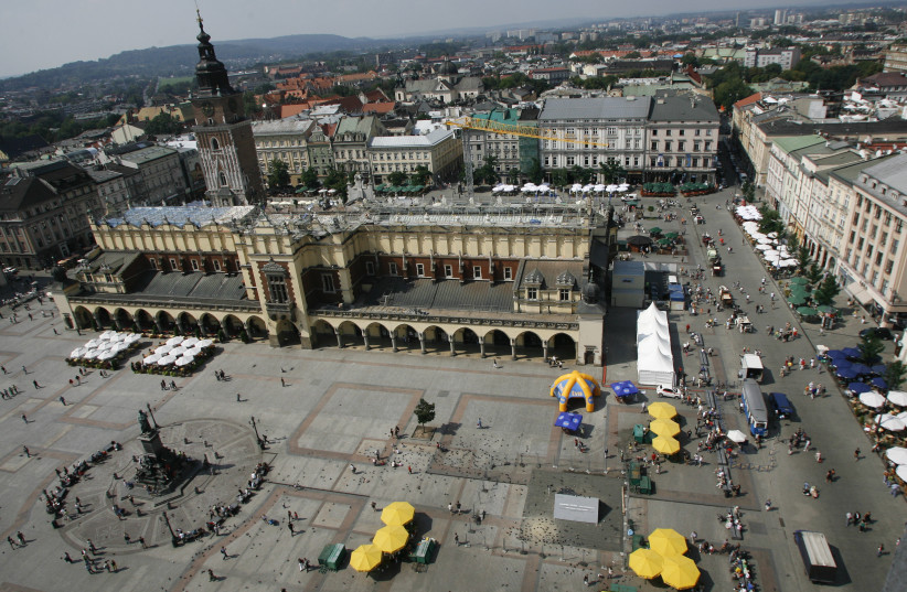 General view of Sukiennice Cloth Hall in the Main Market Square in Krakow, southern Poland (photo credit: REUTERS)