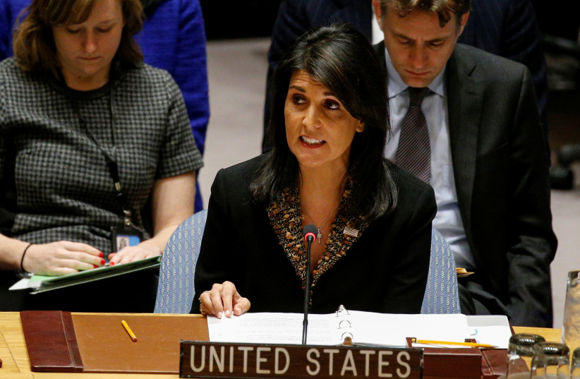 US Ambassador to the United Nations Nikki Haley speaks during the United Nations Security Council meeting on the situation in the Middle East (photo credit: BRENDAN MCDERMID/REUTERS)