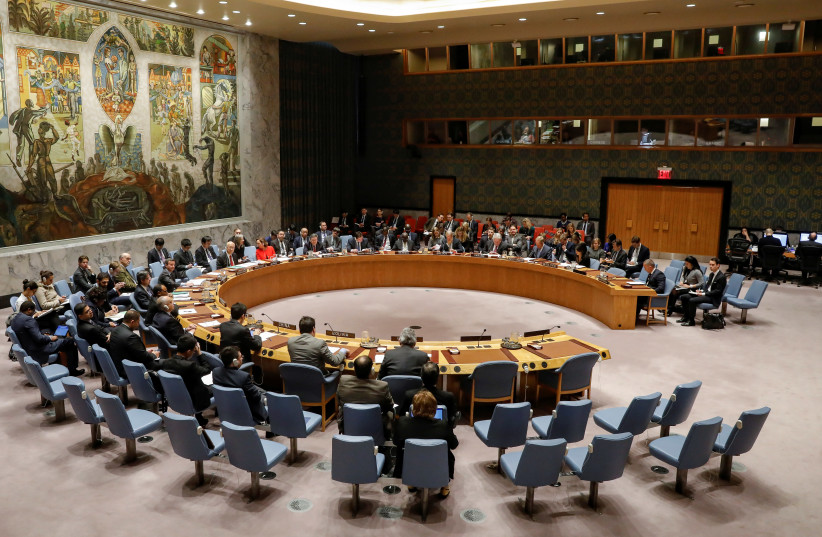The United Nations Security Council meets on the situation in the Middle East (photo credit: BRENDAN MCDERMID/REUTERS)