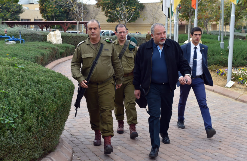Defense Minister Avigdor Liberman tours southern communities who have been experiencing rocket fire from the Gaza Strip (photo credit: DEFENSE MINISTRY/ARIEL HERMONI)