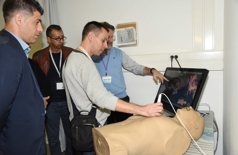 Physicians attend an ultrasound training at Soroka University Medical Center (photo credit: COURTESY RAHEL DAVID FOR BGU)