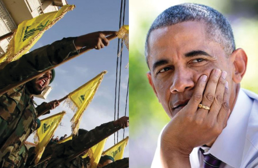 Hezbollah militants/Barack Obama (photo credit: REUTERS/ OFFICIAL WHITE HOUSE PHOTO/PETE SOUZA)