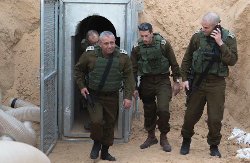 IDF Chief of Staff Gadi Eisenkot visits Hamas terror tunnels on the Gaza border (photo credit: IDF SPOKESPERSON'S UNIT)