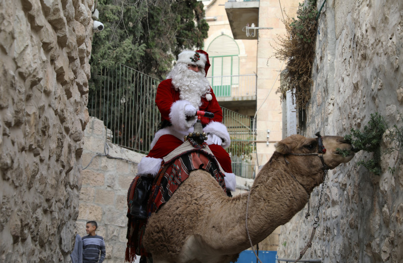 Issa Kassissieh, wearing a Santa Claus costume, rides a camel and distributes Christmas trees in Jerusalem's Old City December 21, 2017 (photo credit: AMMAR AWAD/REUTERS)