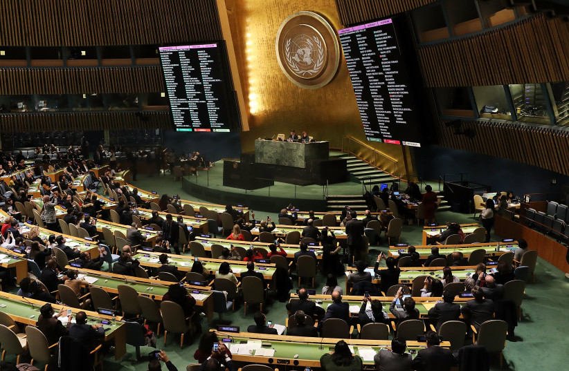 """The voting results are displayed on the floor of the United Nations General Assembly in which the United States declaration of Jerusalem as Israel's capital was declared """"null and void"""" on December 21, 2017 in New York City. (photo credit: SPENCER PLATT / GETTY IMAGES NORTH AMERICA / GETTY IMAGES/AFP)"""