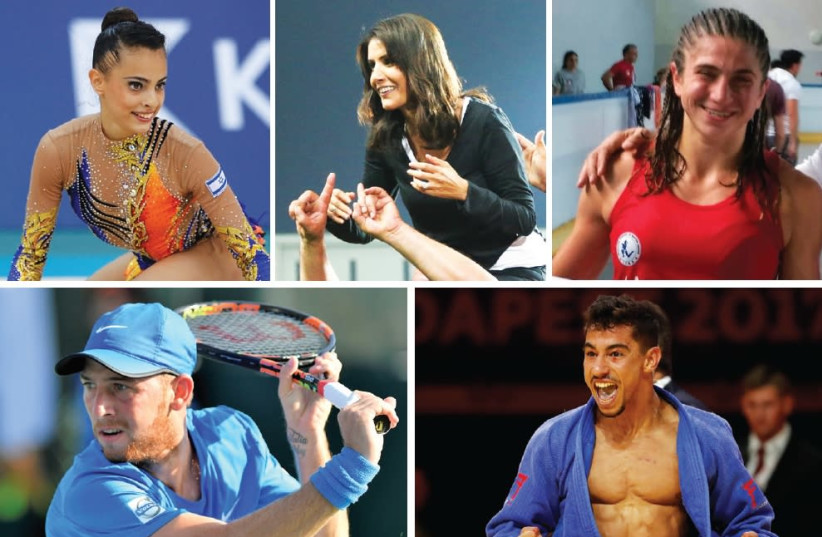 THE CANDIDATES for The Jerusalem Post Israeli Sports Personality of the Year include (clockwise from top left in alphabetical order) rhythmic gymnast Linoy Ashram, Hapoel Beersheba owner Alona Barkat, Muay Thai fighter Nili Block, judoka Tal Flicker and tennis player Dudi Sela. (photo credit: DANNY MARON/OLYMPIC COMMITTEE OF ISRAEL/AYELET/ISRAEL TENNIS ASSOCIATION)