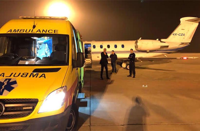 Medically-equipped plane bringing a Syrian refugee newborn to Israel, December 22, 2017 (photo credit: AVIATION BRIDGE)