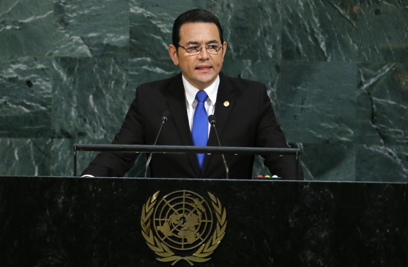 Guatemalan President Jimmy Morales addresses the 72nd United Nations General Assembly at UN Headquarters in New York, US. (photo credit: REUTERS)