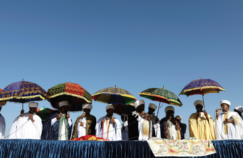 RELIGIOUS LEADERS of the Israeli Ethiopian community take part in a ceremony marking the Ethiopian holiday of Sigd in Jerusalem in November. (photo credit: REUTERS)