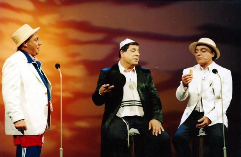HaGashash HaHiver's Yisrael Poliakov (left) Shaike Levy and Gavri Banai  in concert (photo credit: NACHOOM ASIS WIKIMEDIA COMMONS CC-BY-SA 4.0)