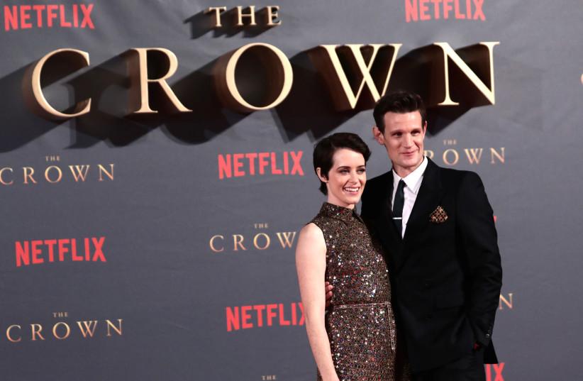 "Actors Claire Foy, who plays Queen Elizabeth II, and Matt Smith who plays Philip Duke of Edinburgh, attend the premiere of ""The Crown"" Season 2 (photo credit: REUTERS/SIMON DAWSON)"