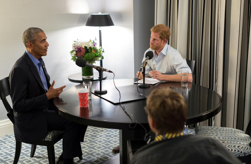 Britain's Prince Harry interviews former US President Barack Obama as part of his guest editorship of BBC Radio 4's Today program (photo credit: THE OBAMA FOUNDATION/BBC/HANDOUT VIA REUTERS)
