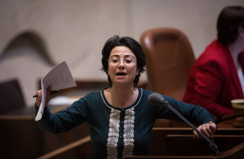 Haneen Zoabi Joint List MK during a Knesset discussion (photo credit: HADAS PARUSH)
